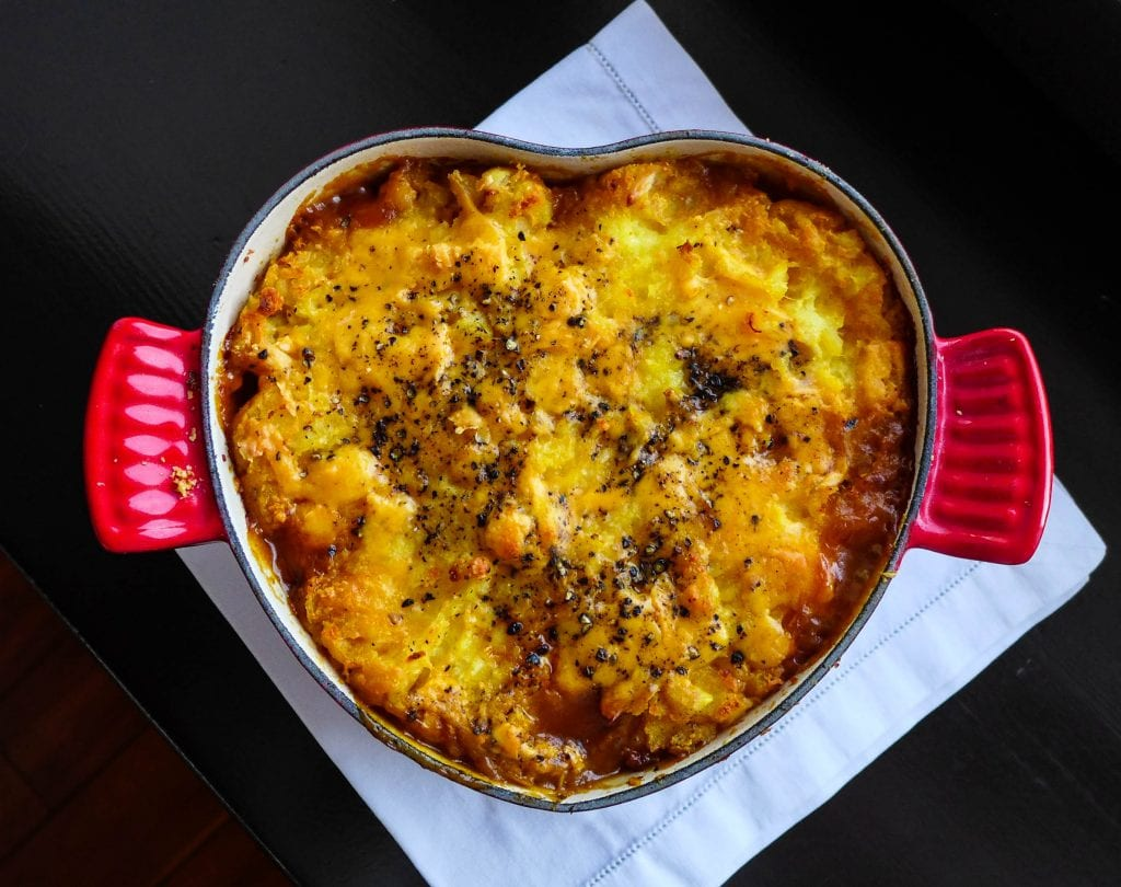 """Nothing says """"I don't care which preposition you put in front of 'Ukraine' -- I love you anyway!"""" like a heart-shaped cottage pie."""