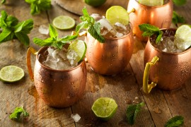 cocktails made from infused simple syrup and vodka