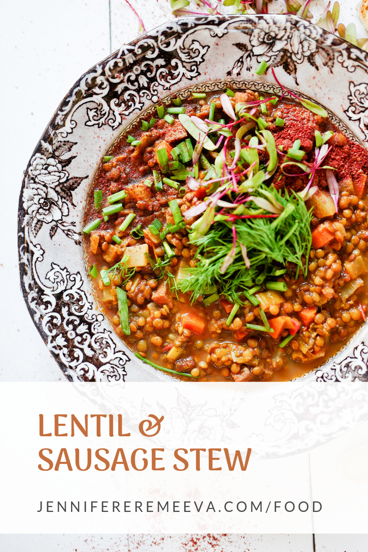 Food blogger Jennifer Eremeeva makes Elizabeth Bard's Lentil and Sausage Stew