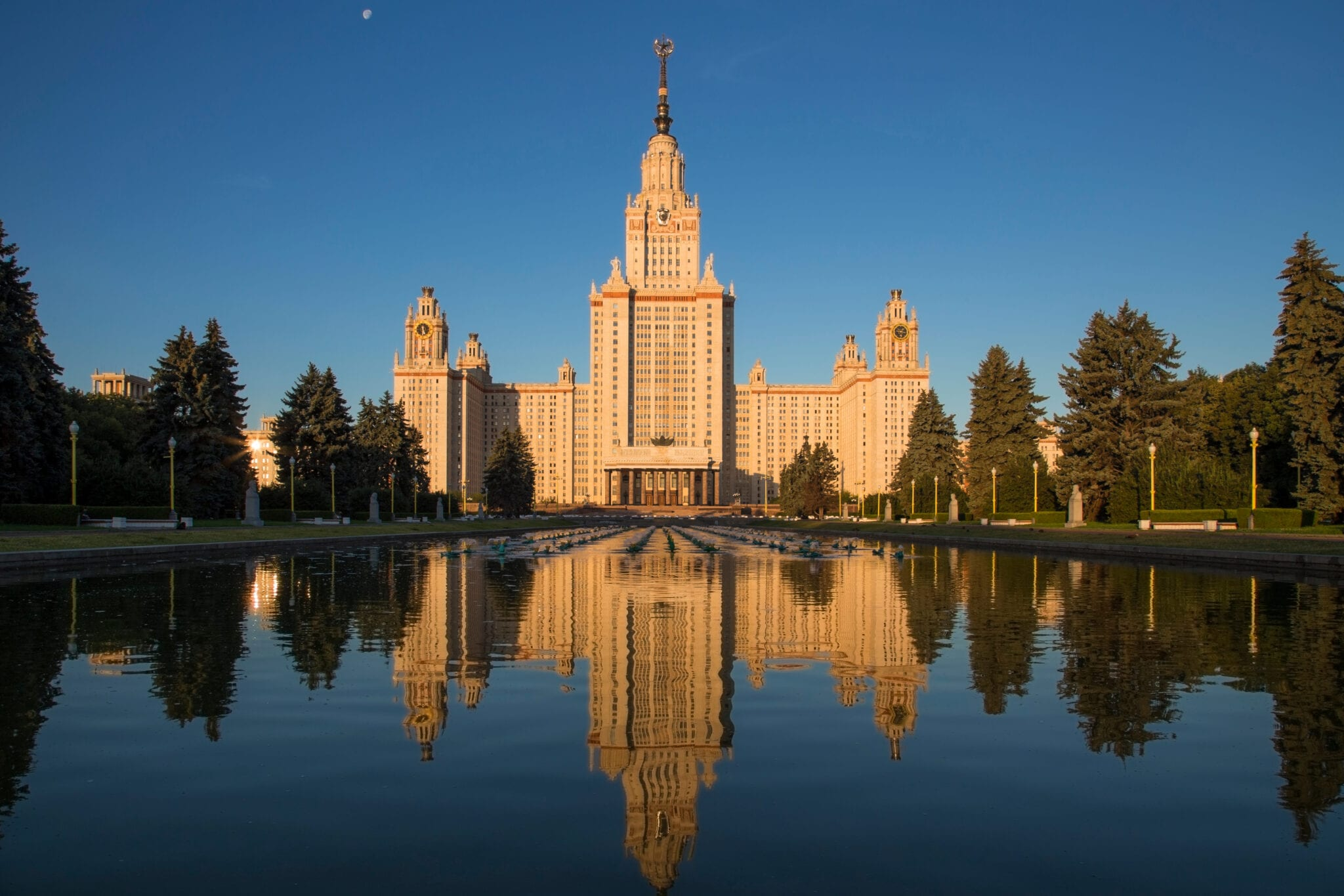 Moscow State University's main skyscraper building reflected