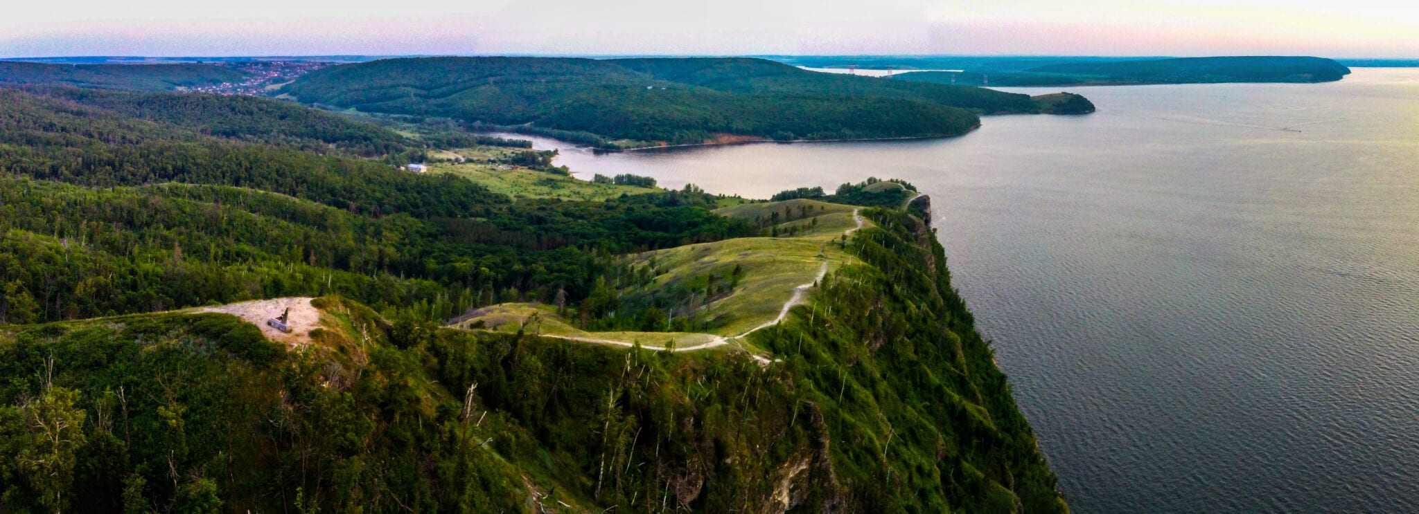 Wide angle view of the Volga River from the Zhiguli Mountains