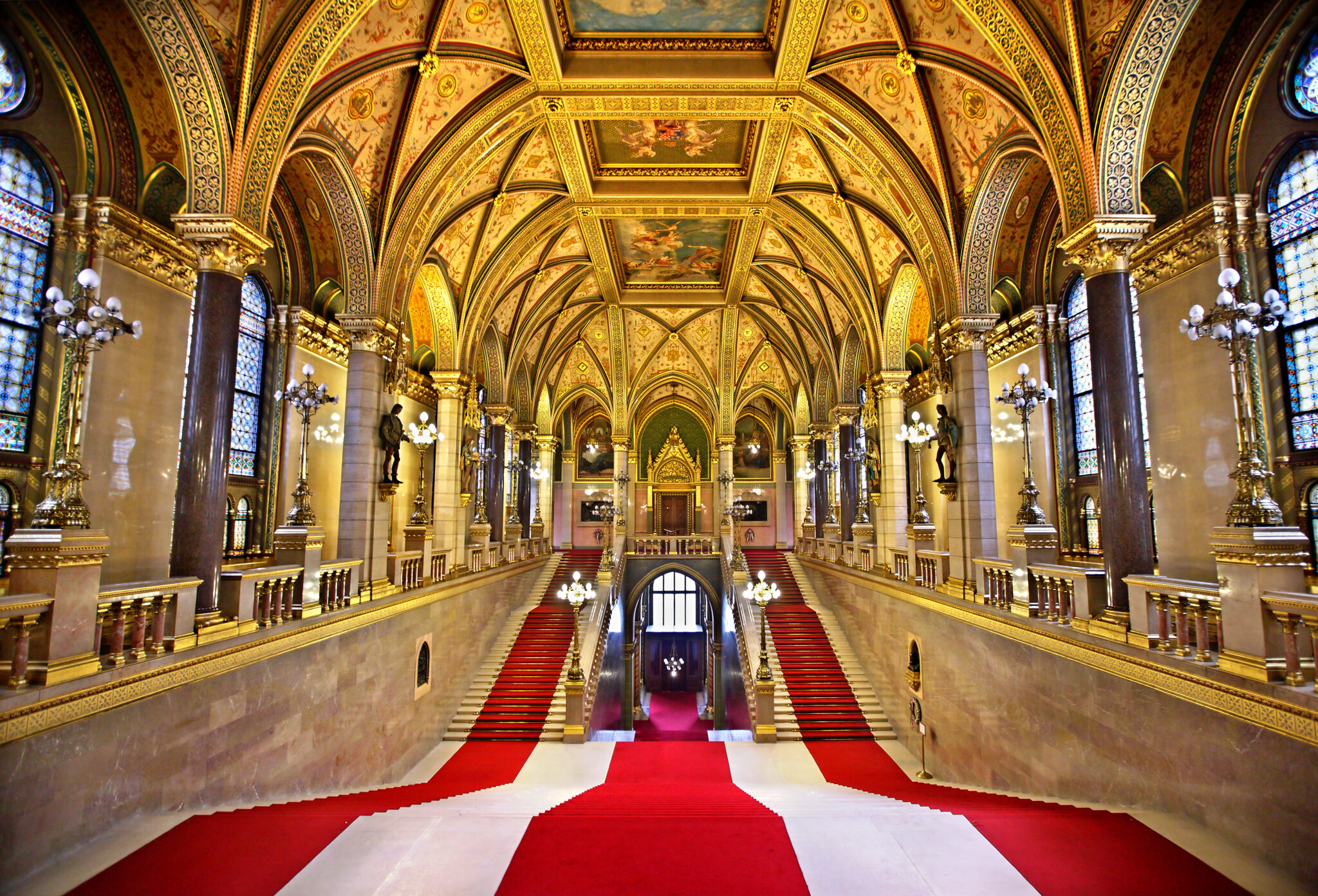The Grand Staircase of the Budapest Parliament Building