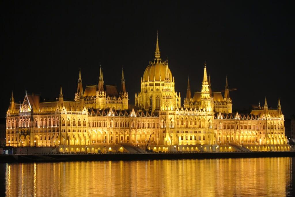 Hungary's Parliament Building illuminated at night