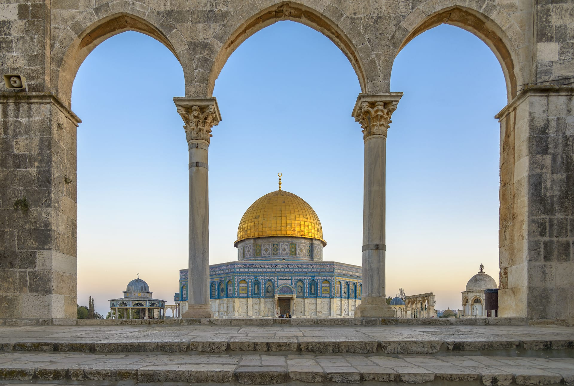 Picture of the Dome of the rock in Jerusalem through Crusader Archways